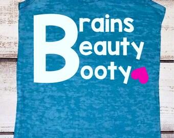 Brains Beauty Booty,  Women's Workout Tank, Funny Workout Tank, Cute Gym Tanks, Inspirational Shirts, Squat Tank Tops, Big Booty Shirt