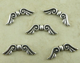 5 TierraCast Large Angel Fairy Wing Beads > Magic Fae Guardian - Lead Free Silver Plated Pewter - I ship Internationally 5600