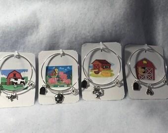Farm Animals Theme Bangle Charm Bracelets You Choose Horse,Cow,Pig,Chicken  Free Shipping