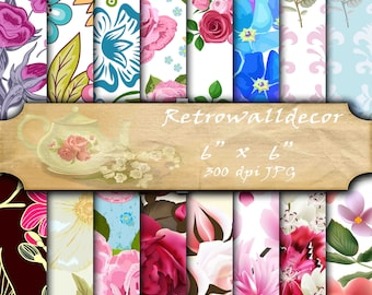 "Floral Digital Paper Shabby Chic Papers Floral Patterns Scrapbook Floral Vintage Paper Floral Backgrounds 6""x6"" papers Buy 2 Get 1 FREE"