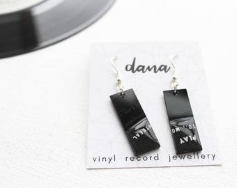 black rectangle earrings montreal small dangle earrings geometric upcycled earrings vinyl record jewellery music earrings record collector