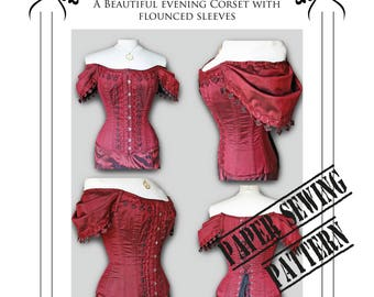 Corset Sewing Pattern  sleeved corset -Steampunk Gothic High Neck line - Extra Large plus size corset - Paper pattern