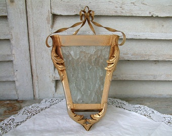 French vintage small metal lantern light. Small porch lantern. Small lantern ceiling light. Shabby chic ceiling light.