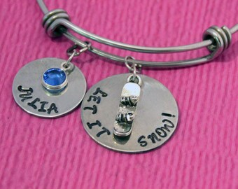 Personalized Name Bracelet | Snowboarder Gifts | Snowboard Bracelet | Snowboard Jewelry | Gift Snowboarder | Snowboarder Bracelet |