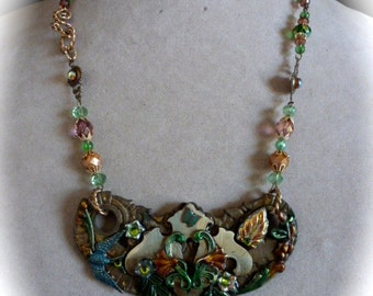 Neo-Victorian Escutcheon Necklace, OOAK Assemblage Pendant, Vintage Repurposed Hardware, Hand Made Beaded Chain