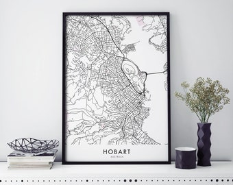 Hobart, Tasmania Art, City Map Print Wall Art | A4 A3 A2