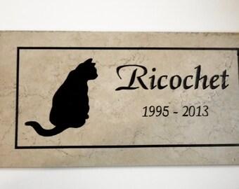 Cat Memorial Plaque - 12x6  Maintenance free Weathered Italian Porcelain..'Ricochet' Design