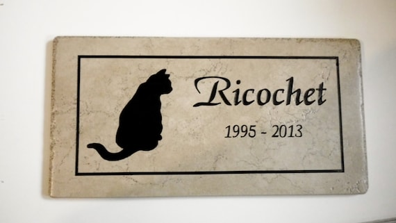 Cat Memorial Plaque - 12x6  Maintenance free Weathered Italian Porcelain..'Ricochet' Design