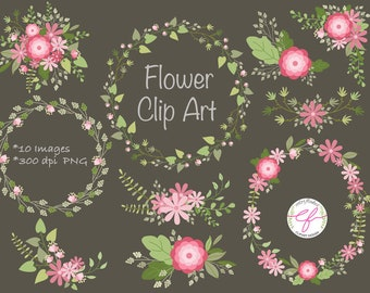 Flower Clipart Set, Wedding flowers clip art set,bloom,Hand Illustrated Digital Flowers,Flower wreaths,bouquets,Mother's day flower clipart