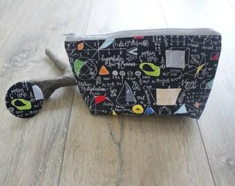 Maths mirror and bag set, maths print, math gift, math teacher gift, geek chic, maths lover gift, cosmetics bag, pocket mirror, compact