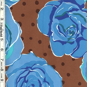 """Olive Rose Blue Floral Roses fabric by Valorie Wells for FreeSpirit fabrics 54"""" wide"""