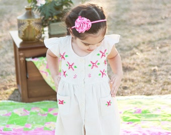 Roses Spring Embroidered Cotton Dress for Girl