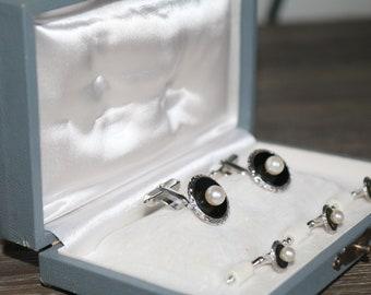 Vintage Tuxedo CuffLinks Shirt Studs Set, Black Onyx Pearl Silver Cufflinks Studs Dress Set. Men   GROOM Gift  Sterling Art Deco Jewelry