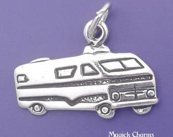 RV MOTORHOME Charm .925 Sterling Silver Camper, Caravan, Travel Trailer Pendant - lp4047