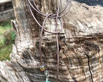 Leather and Turquoise lariat necklace, silver, gold, brass, leather lariat