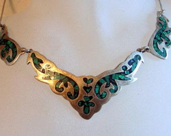 Vintage Taxco Necklace - Taxco Mexico Sterling Silver And Inlaid Turquoise Handmade Bib Necklace