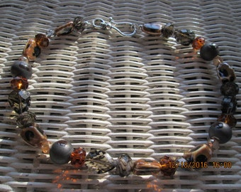 469  Black and brown glass and crystal beaded handmade necklace