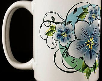 Set of 2 Colorful Floral Coffee Cup Colorful Ceramic Mug Colorful Coffee Cup Set Colorful Cup Set Colorful Mug Set Colorful Ceramic Cup