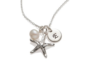 Starfish Necklace - Personalized Starfish Charm 925 Sterling Silver Initial Necklace - Bridesmaid Necklace Beach Themed Jewelry 1