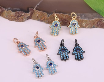 Lovely 15Pcs Jewelry Accessories Micro Pave Blue Turquoise Small Fatima hamsa hand Pendant Beads For Bracelet Making