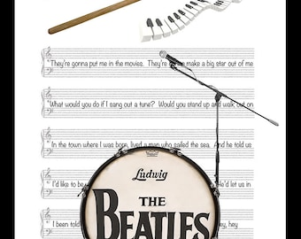 Large Ringo Starr Beatle Tribute Original Print, Drum, Music