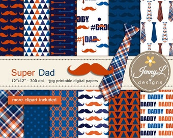 Father's Day Digital Papers and Clipart SET, mustache, necktie for digital scrapbooking, invitation, cake topper, planner