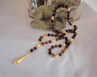 long agate necklace gold, wrap necklace beaded, gold drop necklace, stone necklace gold, brown gold necklaces, women unique necklace