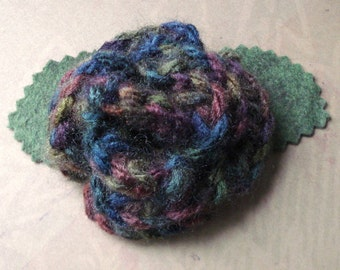 Crocheted Rose Lapel Pin - Muted Hues (SWG-PL-ZZ02)