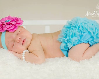 Turquoise Ruffle Bloomers Photo Shoot, Ruffle Diaper Cover, Ruffle Bloomers, Diaper Cover, Baby Ruffle Bloomers, Baby Bloomers