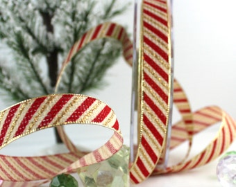 """Red and Gold Candy Cane Stripe Ribbon, 5/8"""" wide"""