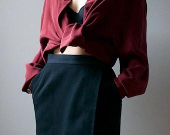 Burgundy Silk Button Up Cardigan - Trisha