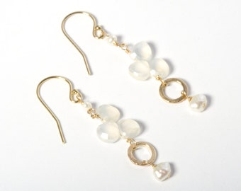 Long Gold Earrings, Delicate Gold Earrings, Dainty Gold Earrings, Gemstone Earrings, Drop Earrings, Long Earrings, Pearl Earrings, White