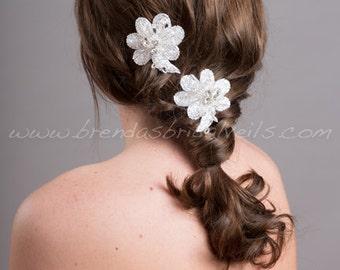 Wedding Hair Accessory, Bridal Rhinestone Flower Headpiece, Bridal Flower Hair Clips - Zayla