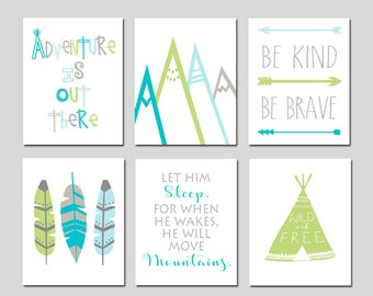 Adventure Nursery Decor Adventure Nursery Art Mountain Nursery Art Mountain Nursery Decor Arrow Nursery Art Feather Nursery Set of 6 Prints
