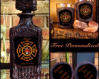 Firefighter Whiskey Decanter Set~Firefighter Gift~Custom Whiskey Set ~Anniversary Gift~#WDS425