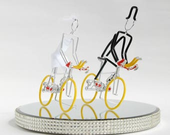 Wedding Cake Topper, Triathlon Bike Wedding Cake Topper, Handmade, Bicycle Cake Toppers, Mr and Mrs Triathlon Bikes with Yellow Wheels.