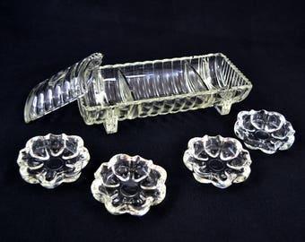Vintage Glass Smoking Set, Crystal Smoking Set With Ashtrays And Cigarette Storage