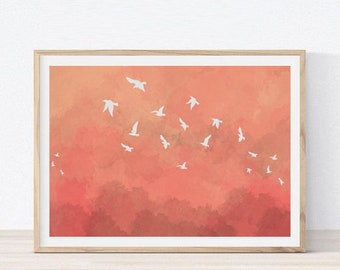 Birds Illustration Poster Home Decor l Printable Art