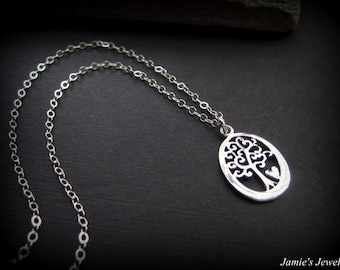 Sterling Silver Tree of Life Necklace - Sterling Silver Heart Tree-  Modern Everyday Necklace - Modern Family Simple Basic Necklace