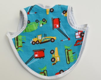 Adorable Baby Apron, Bapron, Fleece lined bib, Construction Trucks, Baby Accessories, Baby Boy Bib, Baby Shower gift, Baby Bapron