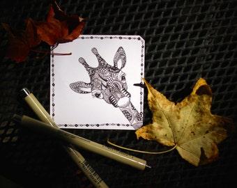 Cute Giraffe Zentangle Art Piece, Printable, Coloring Sheet, Gallery Wall, Adult Coloring, Downloadable Art, Greeting Card