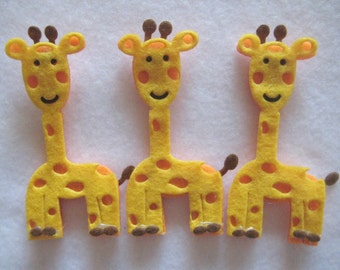 """Giraffe Felt Animal Ornaments for Jesse Tree Ornaments, Banner, Crafting, Baby Shower, Christening, Party Favors, 1.5"""" x 3"""" 6 or 12 pieces"""