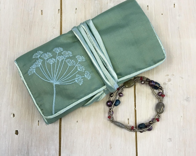 Handmade Silk Jewellery Roll,  Embroidered, Green with Silver Blue Flower Embroidery