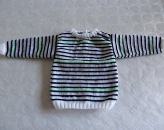 sweater with white, blue and green stripes 12 months