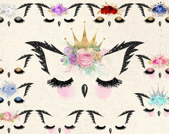 Owl Faces Clipart, owl eyes, face, eyelashes, cute animal clip art, cute crown owl queens, commercial use owl clipart instant download