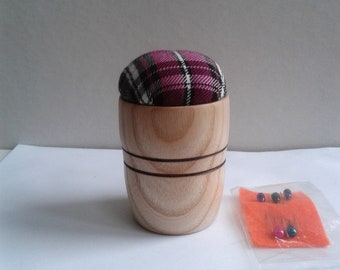 Ash Wood Purple Tartan Pin Cushion E324