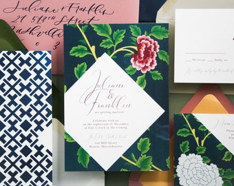 Mod Florals Modern Colorful Wedding Invitation Suite