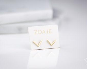 V Shape dainty 10k Solid Gold Studs Earrings VIETNAM