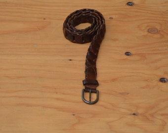 Vintage 80's Belt Dark Brown Leather Woven Size S-L