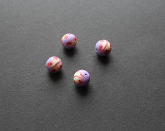 4 beads polymer clay Butterfly multi color purple
